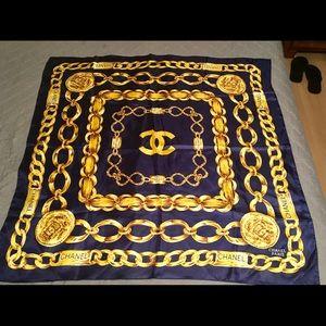 Chanel Vintage Blue & Gold Chain Silk Scarf